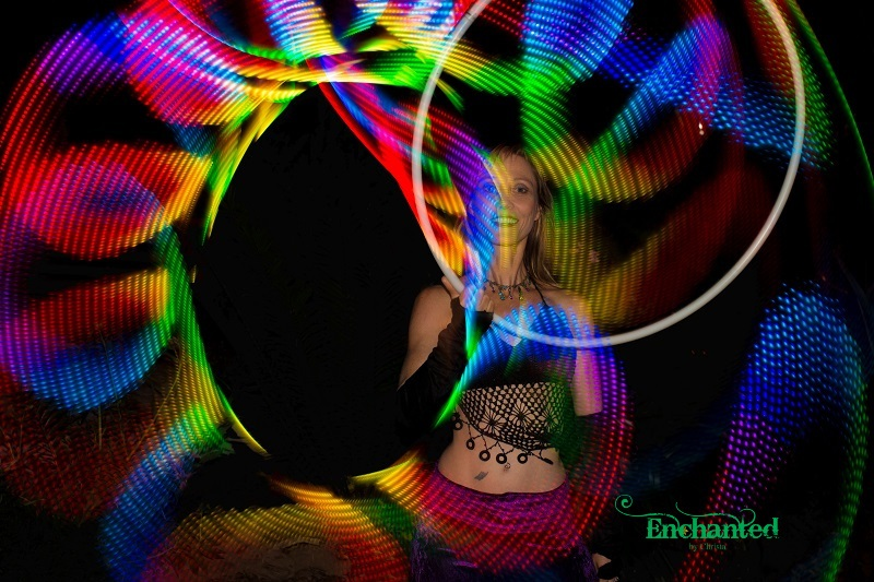 multi-coloured circular pattern for a LED hoop show. www.enchantedbychrista.co.za