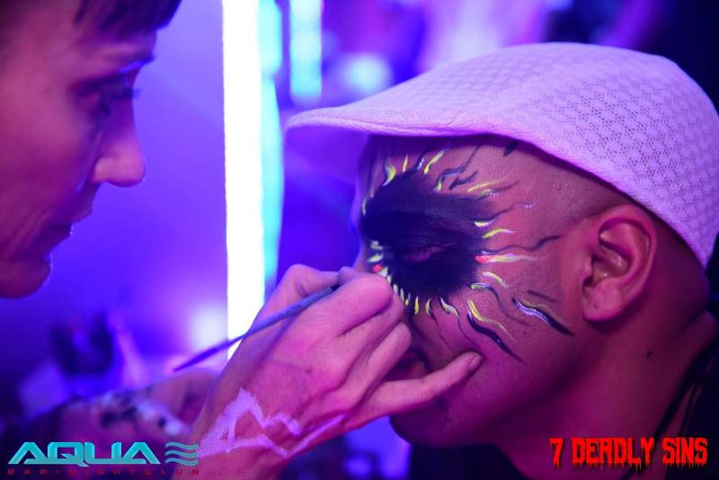 a face paint design done around a guys eye at a Halloween party at Aqua Lounge in Midrand, Johannesburg. www.enchantedbychrista.co.za