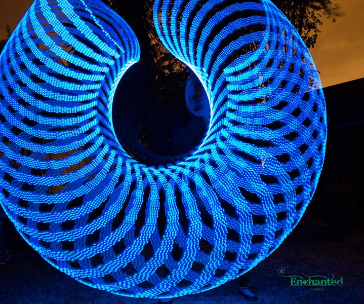 Blue circular pattern created by my Hyperion LED hula hoop. www.enchantedbychrista.co.za