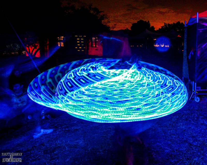This blue LED hula hoop pattern reminds me of a UFO. The photo was taken at the Crater Gathering outdoor festival which was held at the Twaing Crater. www.enchantedbychrista.co.za