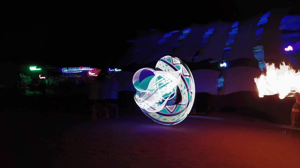 a LED hula hoop performance at an outdoor music festival called Crater Gathering which took place outside Pretoria at the Twaing Crater. www.enchantedbychrista.co.za