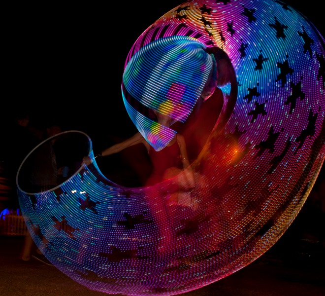 My Hyperion LED hula hoop created this star pattern during a performance at Ultra Festival, South Africa. www.enchantedbychrista.co.za