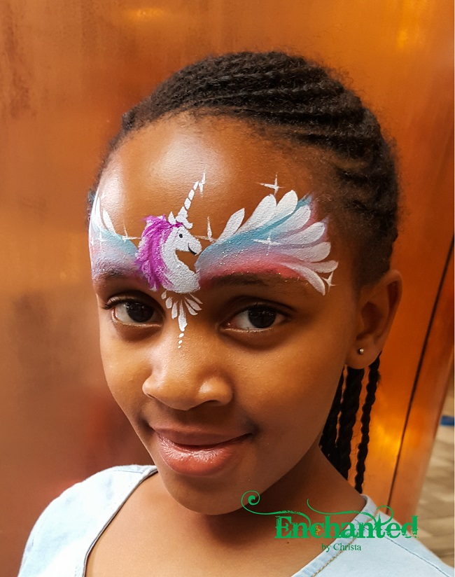 a quick unicorn face paint design painted at Suncity Holiday Resort
