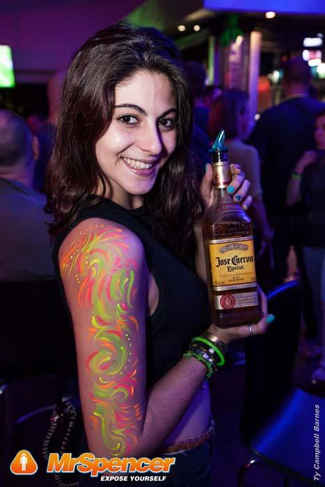 We sometimes also paint on arms and other body parts when asked like on this promo girls' arm at a nightclub in Rivonia. www.enchantedbychrista.co.za