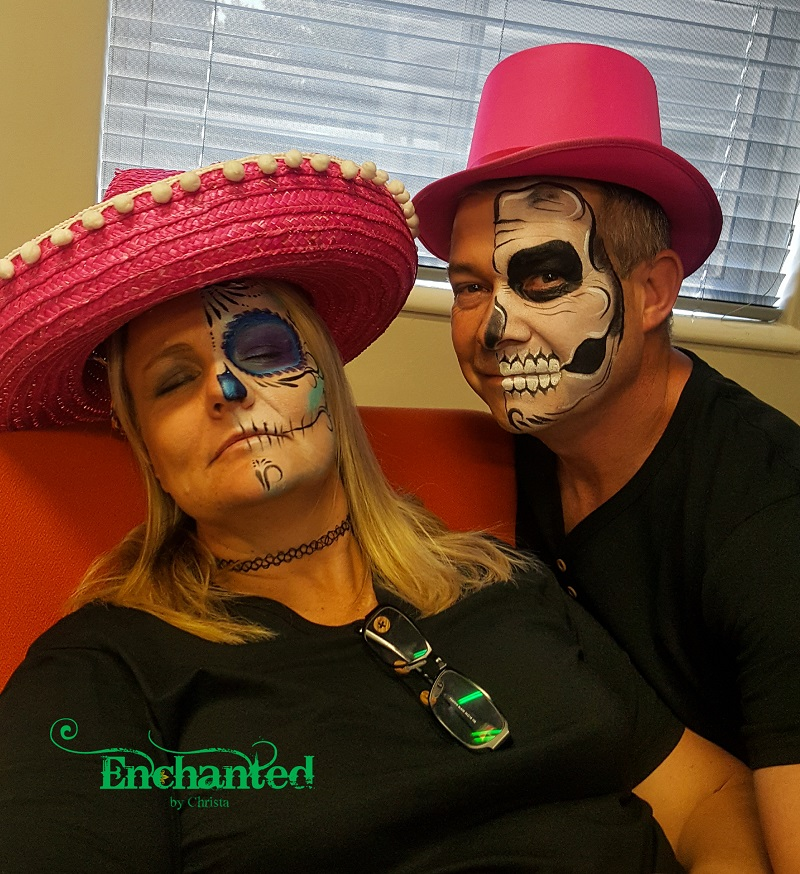 a half skeleton and a sugar skull face paint done for a year-end function in Bedfordview