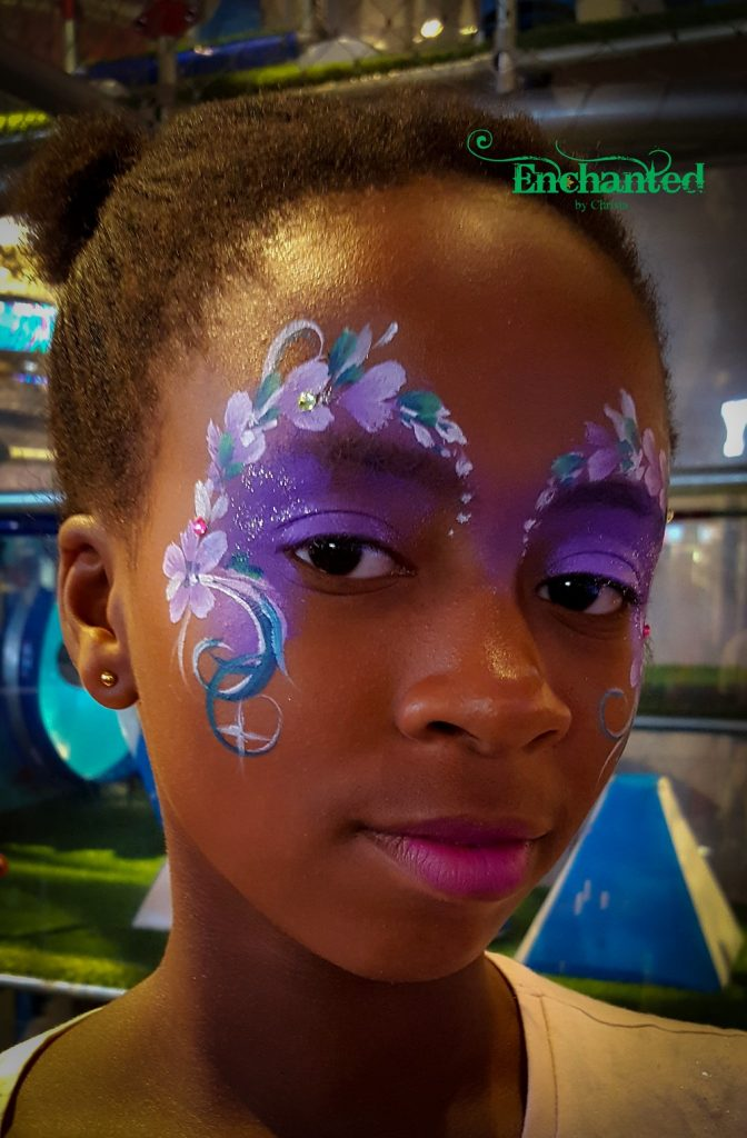 This delicate flower face paint was done at Suncity Holiday Resort