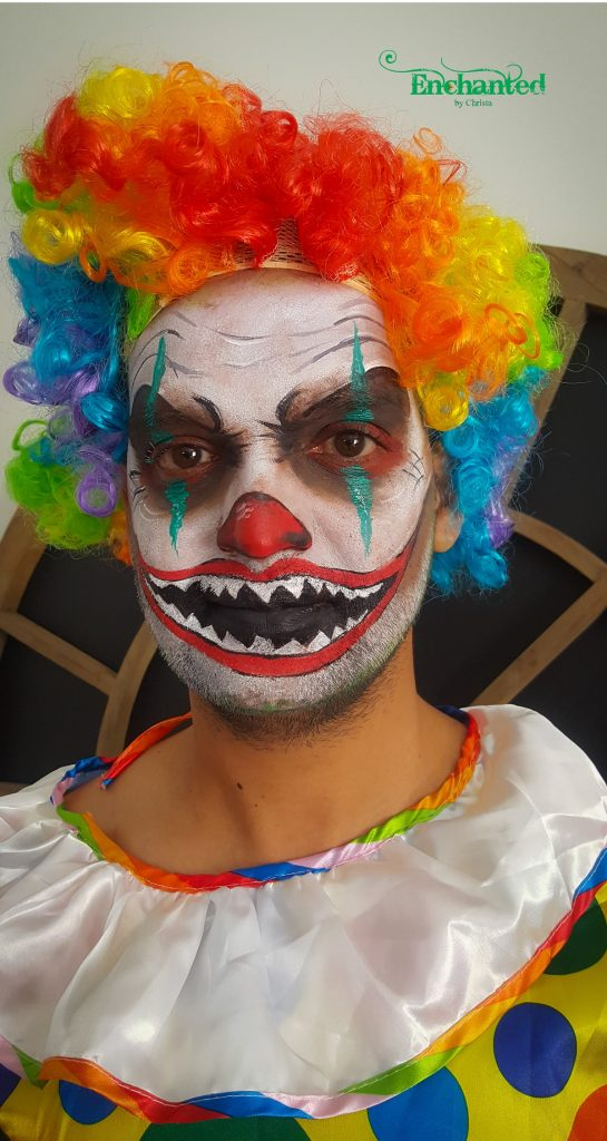This scary clown face was painted as a surprise the morning of this guys'bachelors party