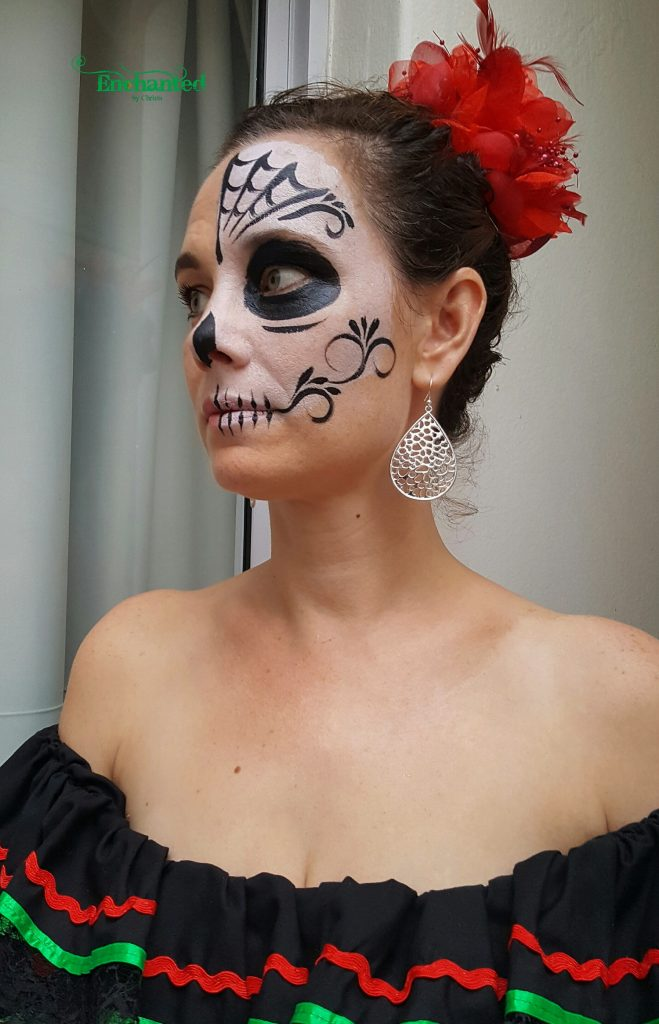 This black and white Sugarskull face paint design was painted at a Day of the Dead themed party in Johannesburg.
