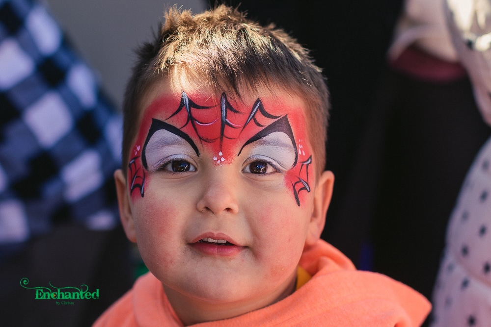 This Spiderman face paint design was painted at a birthday party in Johannesburg. For beautiful images of your kid, have a look at our photographic packages which include a photographer and a face painter