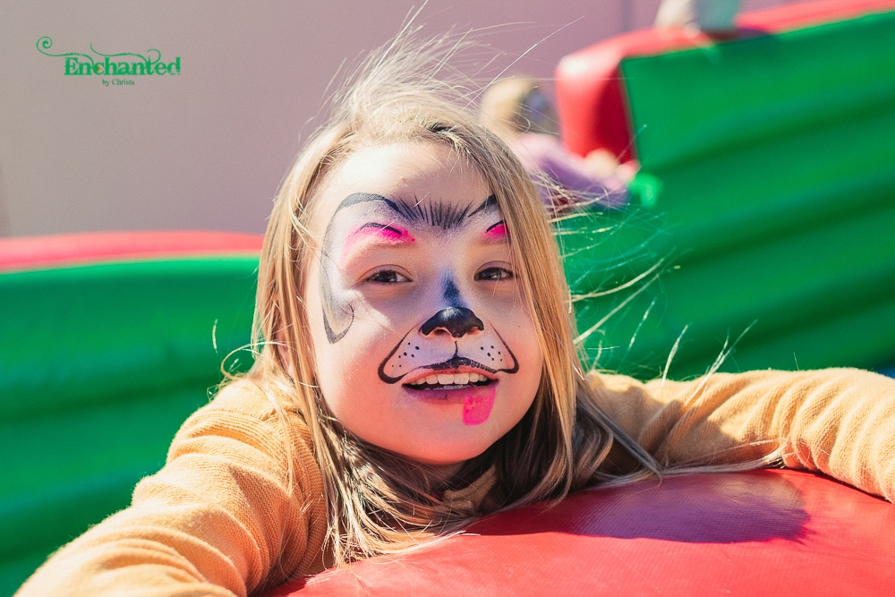 a Puppy face paint design created by Enchanted by Christa for a kiddies party in Johannesburg. We offer photographic and facepainting packages for kids and adult parties