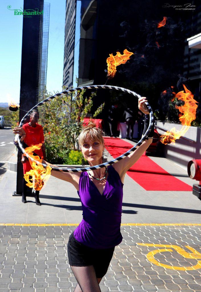 hula hoop performance at the KFC head quarters in Johannesburg