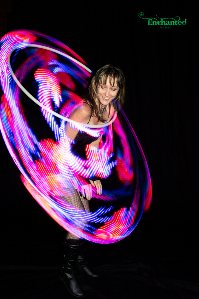 Make your next corporate event special with a LED hula hoop displaying many different patterns