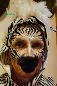 Zebra animal face paint for an adult face