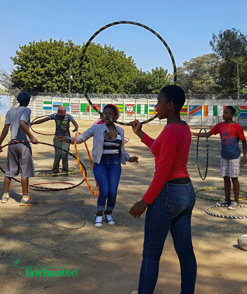 Hula hooping was a hit at a fun day for kids at a home outside Johannesburg