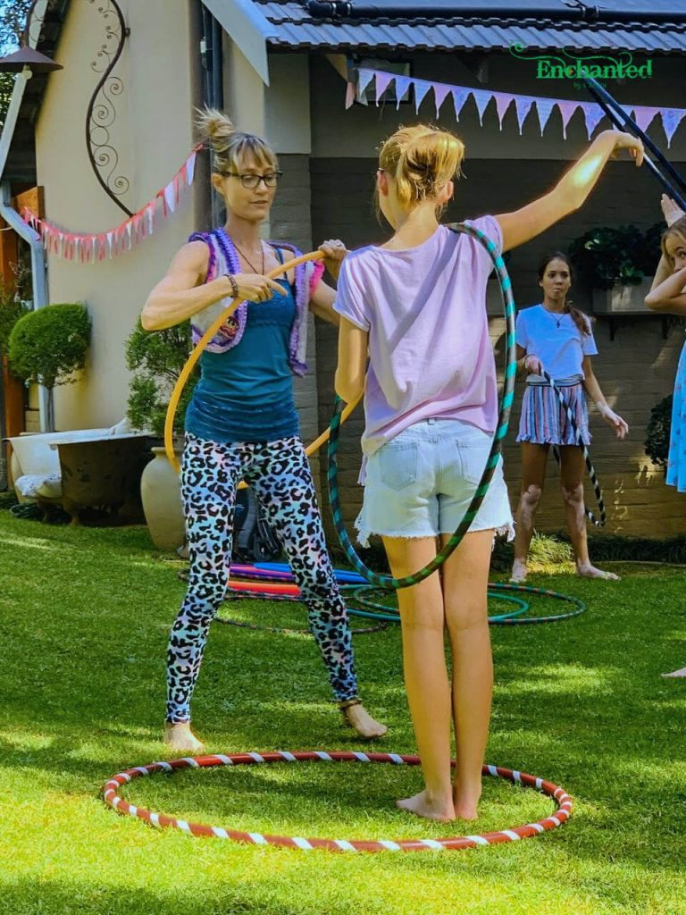 My hula hoop workshop at a teenage party gets older kids involved and moving while participating in something fun