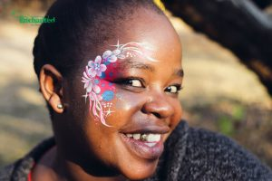 This pretty floral face paint design was painted for one of the ladies at a bachelorette party in Johannesburg