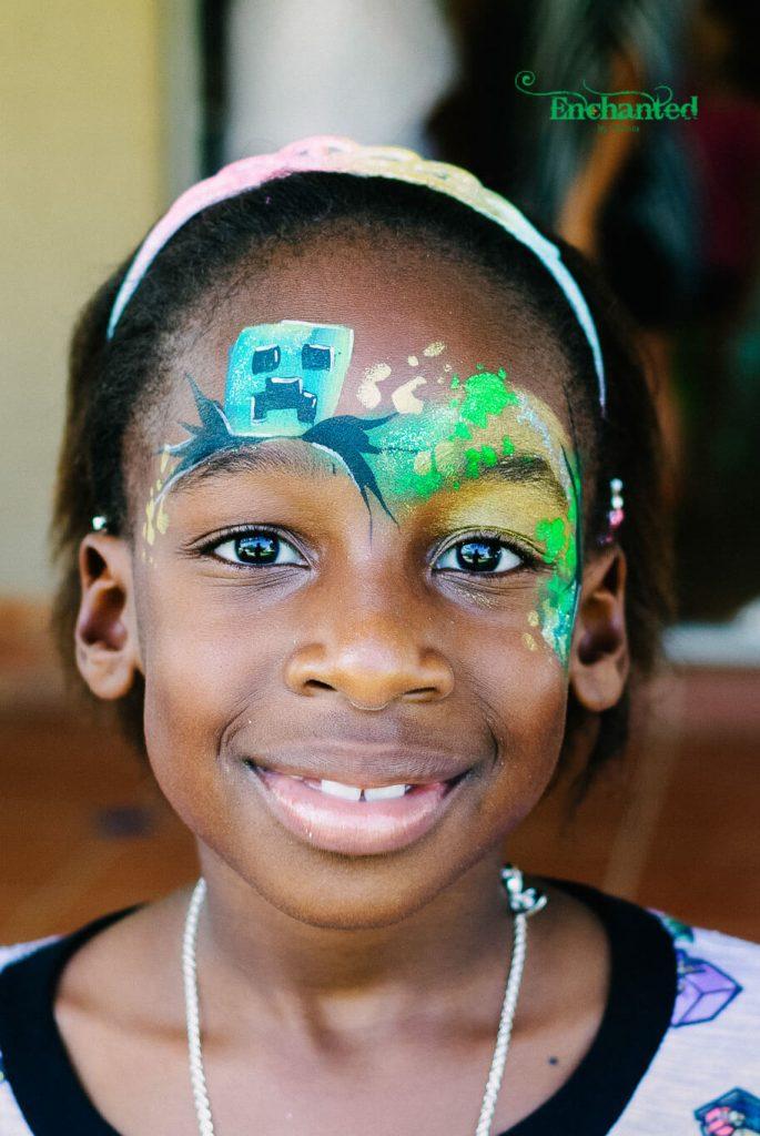 A Minecraft party theme is great for girls or boys and it allows me to get creative with the face paint designs